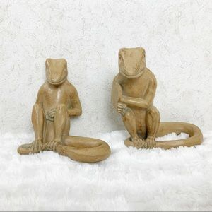 VTG K Findling lizard bookends figures sculptures